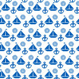 Cartoon seamless pattern with sail boats, anchors and stylized s Stock Photos