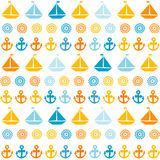 Cartoon seamless pattern with sail boats, anchors and stylized s Stock Photography