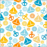Cartoon seamless pattern with sail boats, anchors and stylized s Royalty Free Stock Photography