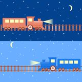 Seamless pattern with night trains Royalty Free Stock Image