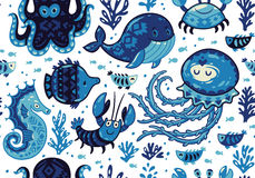 Cartoon Seamless Pattern With Sea Live. Vector Llustration Royalty Free Stock Photos