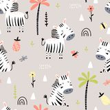 Cartoon seamless pattern with zebras royalty free stock images