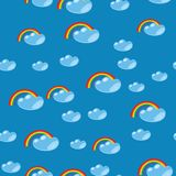 Cartoon seamless rainbow and cloud texture 635 Royalty Free Stock Image