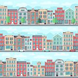 Cartoon seamless street with old apartment buildings, trees and cars vector set. House building cityscape, architecture landscape illustration Stock Photos