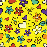 Cartoon seamless texture with hearts. Stock Image