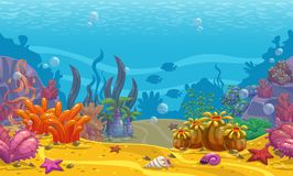 Cartoon seamless underwater background. royalty free illustration