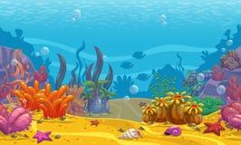 Cartoon seamless underwater background. Stock Photo