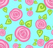 Abstract roses. Vector illustration. Cartoon seamless wallpaper pattern with abstract pink roses on blue background, vector illustration Royalty Free Stock Photos
