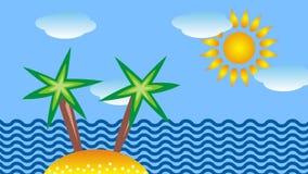 Cartoon seascape with an island, palm tree, sun and clouds.