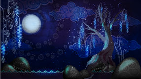 Cartoon seascape with moon and tree Stock Photography