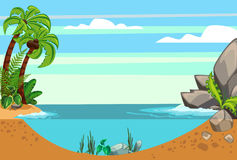 Cartoon seascape summer. Seascape with rocks and tropics Stock Photography