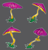 Cartoon seasonal poisonous mushroom with lilac cap Stock Photos