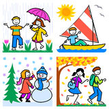 Cartoon Seasons Kids/eps stock illustration