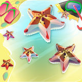 Cartoon seastar on the seashore. Flip-flops and seastar on the beach Royalty Free Stock Photo