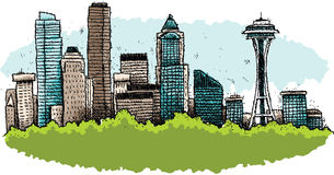 Cartoon Seattle Royalty Free Stock Photography