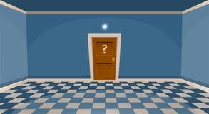 Cartoon secret door concept. Empty room with door in blue style Stock Photography