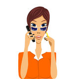 Cartoon secretary talking on phone Stock Photo