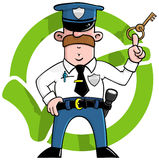 Cartoon Security Guard. In front of a green approved tick Stock Image