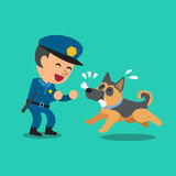 Cartoon security guard policeman playing with police guard dog Stock Photo