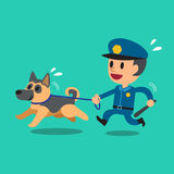 Cartoon security guard policeman with police guard dog Royalty Free Stock Photos