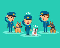 Cartoon security guard policemen with guard dogs Royalty Free Stock Photo