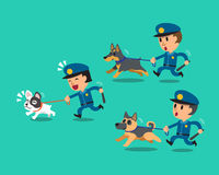 Cartoon security guard policemen with police guard dogs Royalty Free Stock Photos