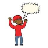 Cartoon security man panicking with speech bubble Stock Images