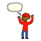 Cartoon security man panicking with speech bubble Stock Photo