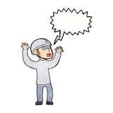 Cartoon security man panicking with speech bubble Royalty Free Stock Photo