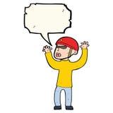 Cartoon security man panicking with speech bubble Stock Image