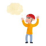 Cartoon security man panicking with thought bubble Royalty Free Stock Photo