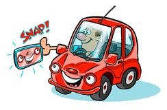 Cartoon selfie with car. Cartoon of caricature of man snapping a selfie with his red car Royalty Free Stock Photography