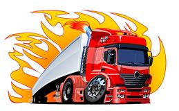 Cartoon semi truck. Available EPS-10 vector format separated by groups and layers for easy edit Stock Images