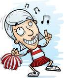 Cartoon Senior Citizen Cheerleader Dancing. A cartoon illustration of a senior citizen woman cheerleader dancing vector illustration
