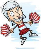 Cartoon Senior Citizen Cheerleader Jumping. A cartoon illustration of a senior citizen woman cheerleader jumping stock illustration