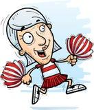Cartoon Senior Citizen Cheerleader Running. A cartoon illustration of a senior citizen woman cheerleader running royalty free illustration