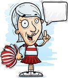 Cartoon Senior Citizen Cheerleader Talking. A cartoon illustration of a senior citizen woman cheerleader talking vector illustration