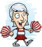 Cartoon Senior Citizen Cheerleader Walking. A cartoon illustration of a senior citizen woman cheerleader walking vector illustration