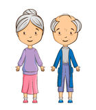 Cartoon senior couple. Isolated over white Royalty Free Stock Photos