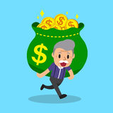 Cartoon senior man carrying big money bag. For design Stock Photography