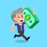 Cartoon senior man carrying big money stack Royalty Free Stock Photo
