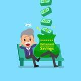 Cartoon senior man earning money Royalty Free Stock Image