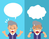 Cartoon a senior man expressing different emotions with speech bubbles Royalty Free Stock Image