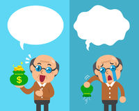 Cartoon senior man expressing different emotions with speech bubbles Royalty Free Stock Photography
