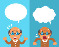 Cartoon a senior man expressing different emotions with white speech bubbles Stock Images