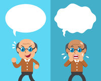 Cartoon senior man expressing different emotions with white speech bubbles Stock Photo