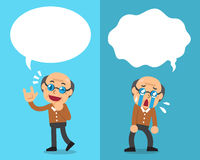 Cartoon senior man expressing different emotions with white speech bubbles. For design Royalty Free Stock Image