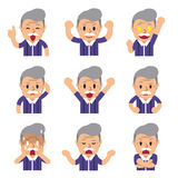 Cartoon a senior man faces showing different emotions Stock Image