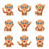 Cartoon senior man faces showing different emotions Stock Photography