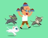 Cartoon senior man feeding cats Royalty Free Stock Photo